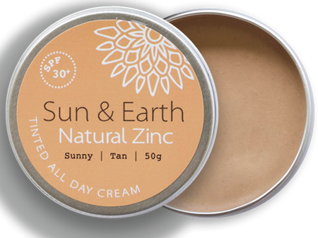 Sun & Earth Natural Zinc Tinted All Day Cream - Sunny Tan - lid off