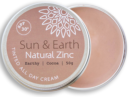 Sun & Earth Natural Zinc Tinted All Day Cream - Earthy Cocoa - lid off