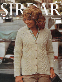 Vintage Ladies Aran Diamond Cardigan