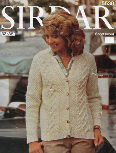 Vintage Ladies Aran Diamond Cardigan