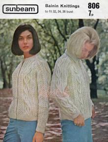 Vintage Ladies Bainin Aran Cardigans