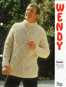 Men's Vintage Aran Diamond Knit Sweater