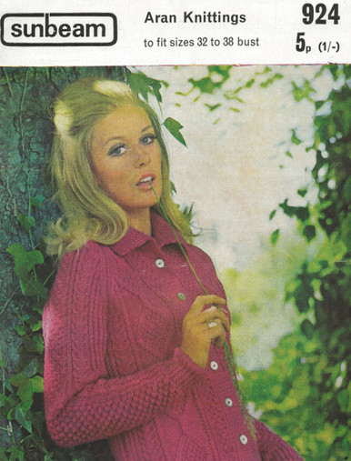 Vintage Ladies Diamond Aran Cardigan