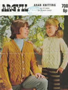 Vintage Childrens Button and Zip Aran Cardigans