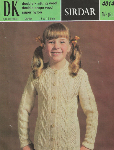 Vintage Girls Aran Cardigan