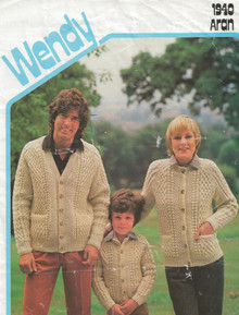 Vintage Family Aran Cross Stitch Cardigans