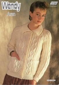 Vintage Ladies Aran Button Down Collar Cardigan