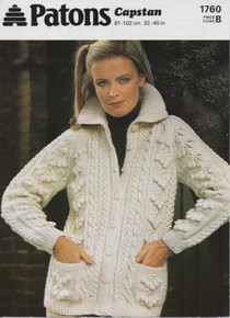 Vintage Ladies Button Down Aran Cardigan