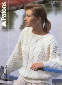 Vintage Ladies Crew Neck Aran Sweater