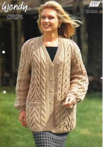 Vintage Ladies V-Neck Aran Cardigan