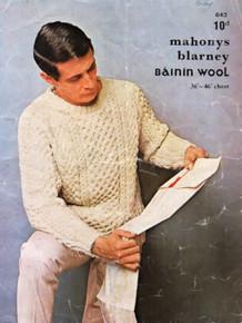 Vintage Men's Crew Neck Aran Sweater