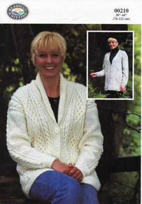 Vintage Ladies Cardigan with Roll Collar or V-Neck