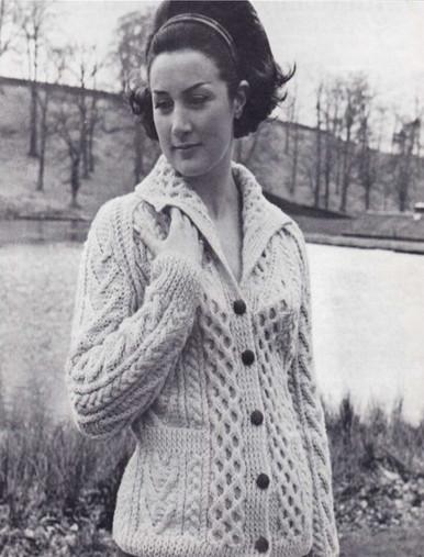 Ladies Vintage Honeycomb Aran Cardigan