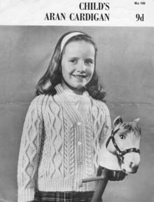 Childrens Vintage Aran Cardigan