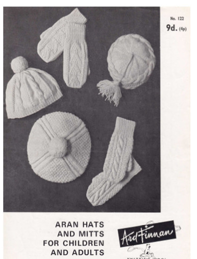 Vintage Aran Hat and Mitts - Adult and Childrens