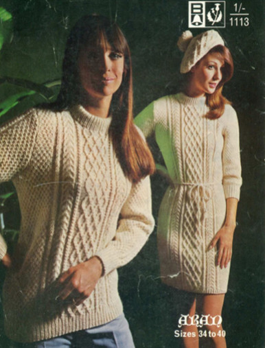Vintage Style Aran Dress and Sweater