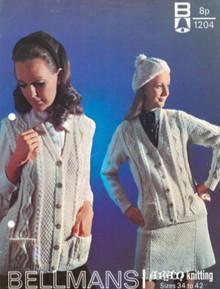 Vintage Ladies Sleeveless and Sleeved Aran Cardigan