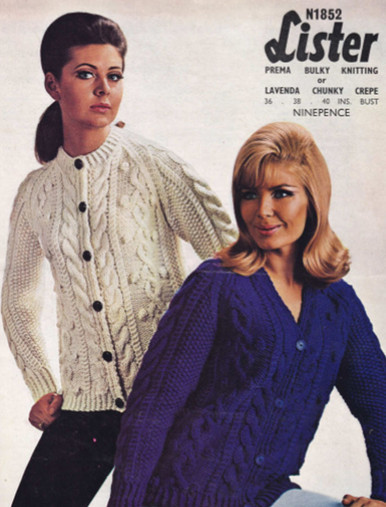 Ladies Vintage Low and High Button Cardigan
