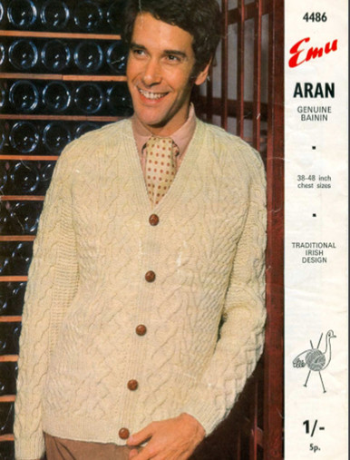 Vintage Men's Bainín V-Neck Cardigan