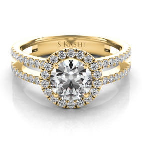 ROUND HALO DIAMOND ENGAGEMENT RING EN7266