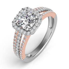 SQUARE HALO DIAMOND ENGAGEMENT RING EN7339