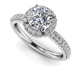 Double Row Diamond Halo Engagement Ring Style BDMS218-A