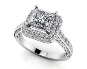 Princess Cut Double Halo Engagement Ring Style BDMS224-A