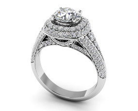 Deluxe Double Halo Diamond Engagement Ring Style BDMS227-A