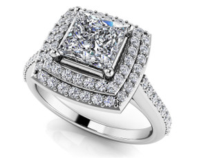 Princess and Round Diamond Engagement Ring Style BDMS174-A