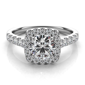 Square Halo Diamond Engagement Ring EN7452
