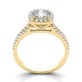 SPLIT SHANK SQUARE HALO DIAMOND ENGAGEMENT RING EN7369