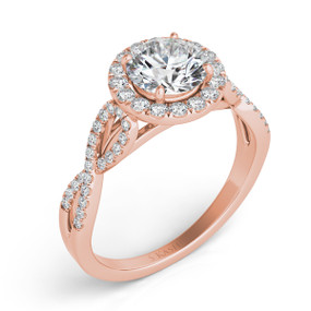 ROUND HALO TWISTED SHANK DIAMOND ENGAGEMENT RING EN7373