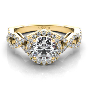 ROUND HALO TWISTED SHANK DIAMOND ENGAGEMENT RING EN7380