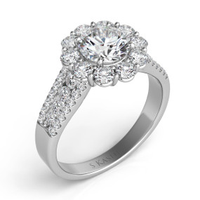 UNIQUE ROUND HALO DIAMOND ENGAGEMENT RING EN7413