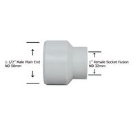 "1-1/2"" Plain End x 1"" Socket Fusion Reducing Bushing"