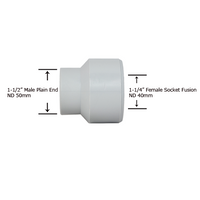 "1-1/2"" Plain End x 1-1/4"" Socket Fusion Reducing Bushing"