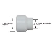 "2"" Plain End x 1-1/4"" Socket Fusion Reducing Bushing"