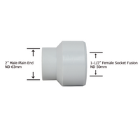 "2"" Plain End x 1-1/2"" Socket Fusion Reducing Bushing"