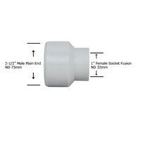 "2-1/2"" Plain End x 1"" Socket Fusion Reducing Bushing"