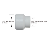 "2-1/2"" Plain End x 1-1/4"" Socket Fusion Reducing Bushing"