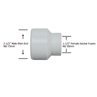 "2-1/2"" Plain End x 1-1/2"" Socket Fusion Reducing Bushing"