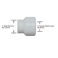 "4"" Plain End x 3"" Socket Fusion Reducing Bushing"