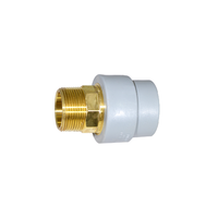 "1-1/2"" Socket Fusion x 1-1/2"" MPT Male Threaded Lead Free Brass Transition ND 50mm PP-RCT"