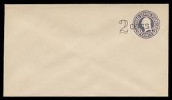 U.S. Scott # U 446/10, UPSS 2737/20, 1920-1 2c (Type 1 Sch) on 3c (U436a) Washington, dark violet on white, Die 1 - Mint (See Warranty)
