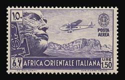 ITALIAN EAST AFRICA Scott # C 6, 1938 1.50 lire violet Mussolini in Stone