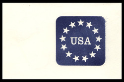 U.S. Scott # U 611a 1988 25c Stars & U.S.A., Dark Red & Tagging Omitted Error - Mint Cut Square