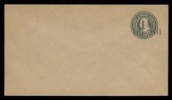U.S. Scott # U499/10, UPSS 3164/UNWMKD, 1925 1 1/2c (Type 8 Sch) on 1c (U424) Franklin, green on manila, Die 1 - Mint (See Warranty)