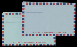 2 VARIETIES, Canal Zone Air Letter Sheet, Bluish and greenish Papers