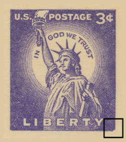 UX46, Statue of Liberty EFO, Damaged Lower Right Corner