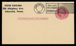UY13, Washington Message/Reply Card, Mailer's Postmarl & Plate Flaw